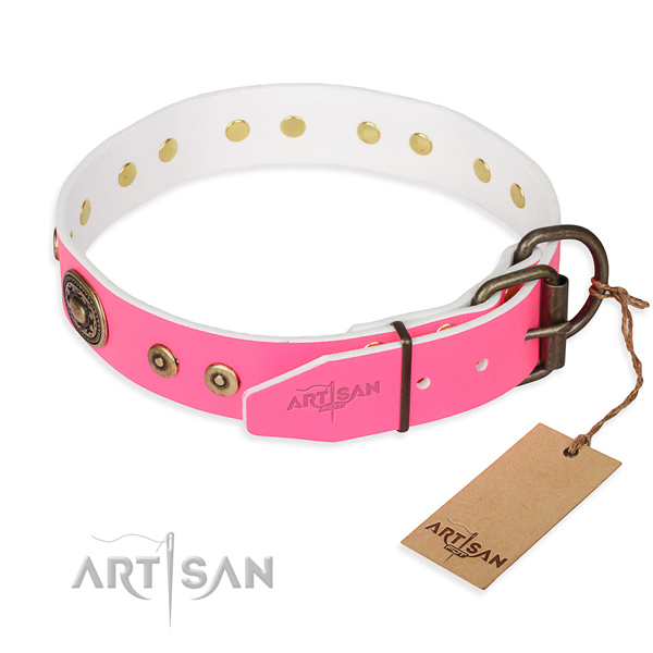 Natural genuine leather dog collar made of high quality material with strong studs