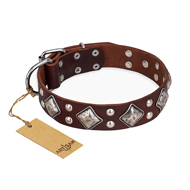 """King of Grace"" FDT Artisan Stylish Leather Sharpei Collar with Old Silver-Like Plated Decorations"
