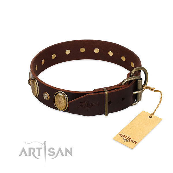 Strong hardware on natural genuine leather collar for fancy walking your doggie