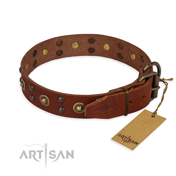 Corrosion proof buckle on genuine leather collar for your handsome doggie