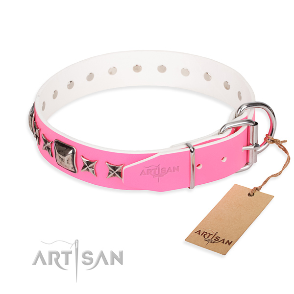 Finest quality adorned dog collar of genuine leather