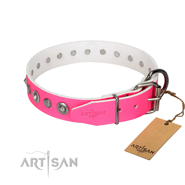 Finest quality full grain genuine leather dog collar with stylish design decorations