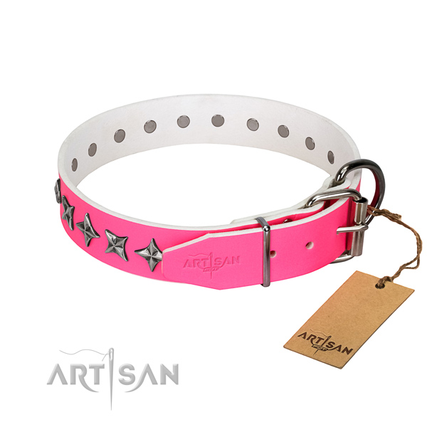 Reliable natural leather dog collar with stylish design decorations