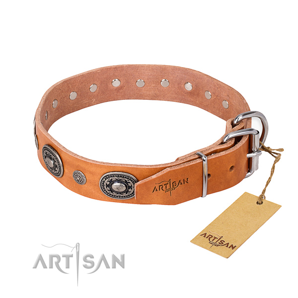 Quality genuine leather dog collar handcrafted for everyday use