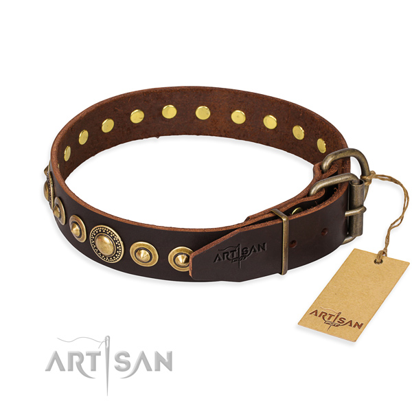 Soft full grain natural leather dog collar made for basic training