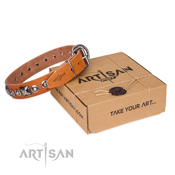 Full grain natural leather dog collar made of top rate material with rust resistant D-ring