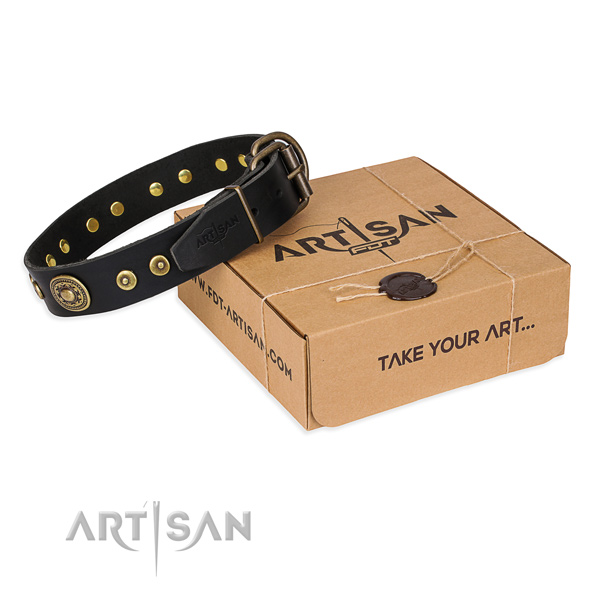 Natural genuine leather dog collar made of high quality material with reliable D-ring