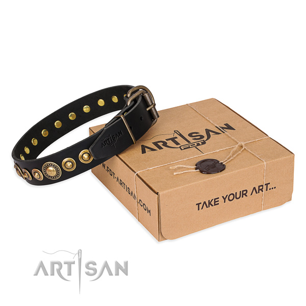Top rate genuine leather dog collar crafted for fancy walking