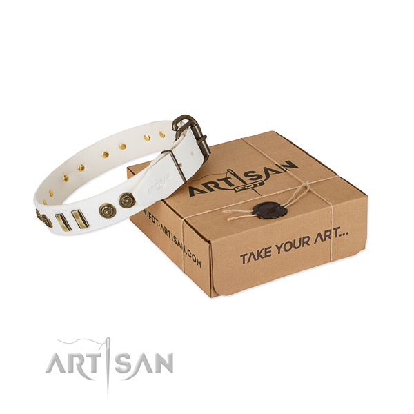 Rust-proof fittings on natural leather dog collar for your dog