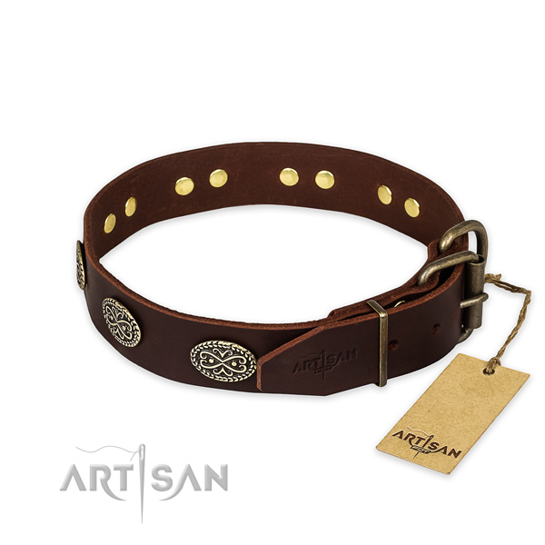 Corrosion resistant fittings on genuine leather collar for your stylish four-legged friend