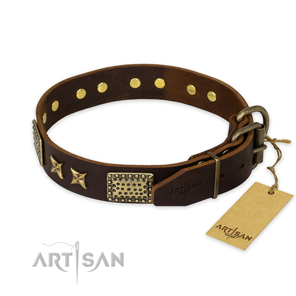 Corrosion resistant buckle on full grain leather collar for your attractive canine