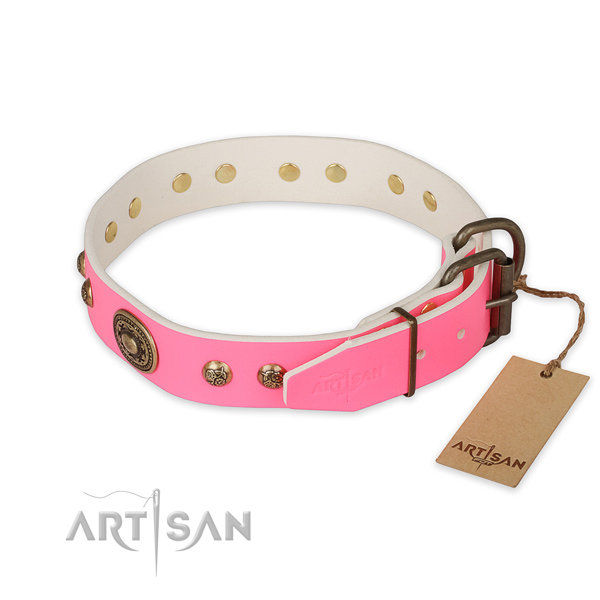 Corrosion resistant buckle on full grain genuine leather collar for daily walking your doggie