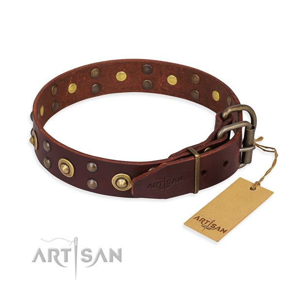 Reliable buckle on full grain genuine leather collar for your attractive dog