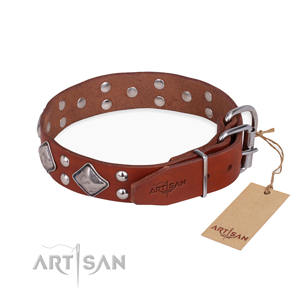Full grain natural leather dog collar with stylish design corrosion resistant embellishments