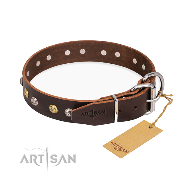 High quality leather dog collar crafted for daily walking