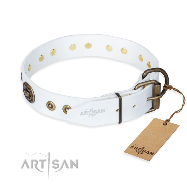 Genuine leather dog collar made of gentle to touch material with corrosion proof decorations