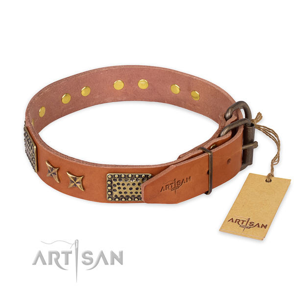 Rust-proof buckle on natural genuine leather collar for your lovely pet