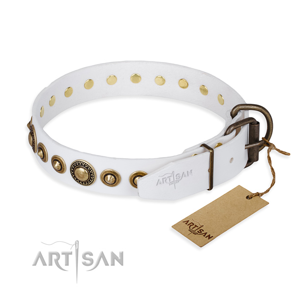 Gentle to touch full grain genuine leather dog collar made for comfy wearing