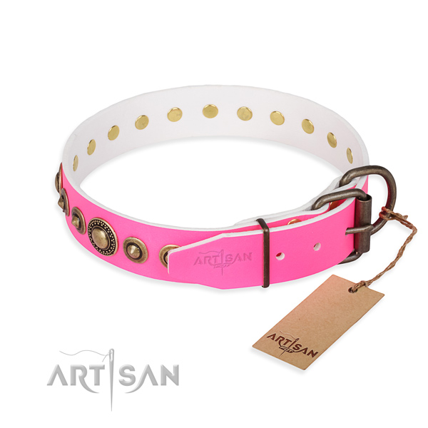 Durable full grain natural leather dog collar crafted for fancy walking