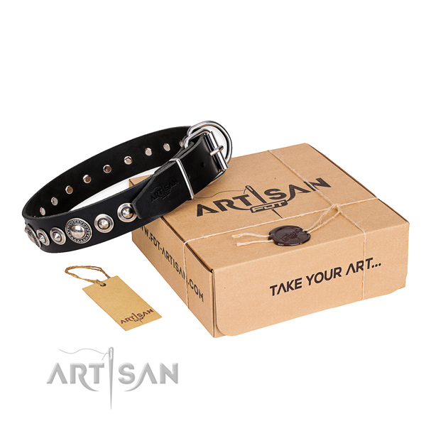High quality full grain natural leather dog collar
