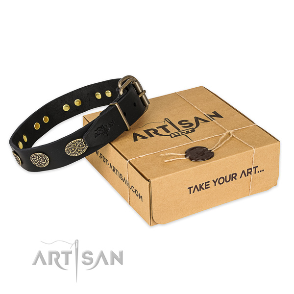 Corrosion resistant buckle on full grain leather collar for your stylish dog
