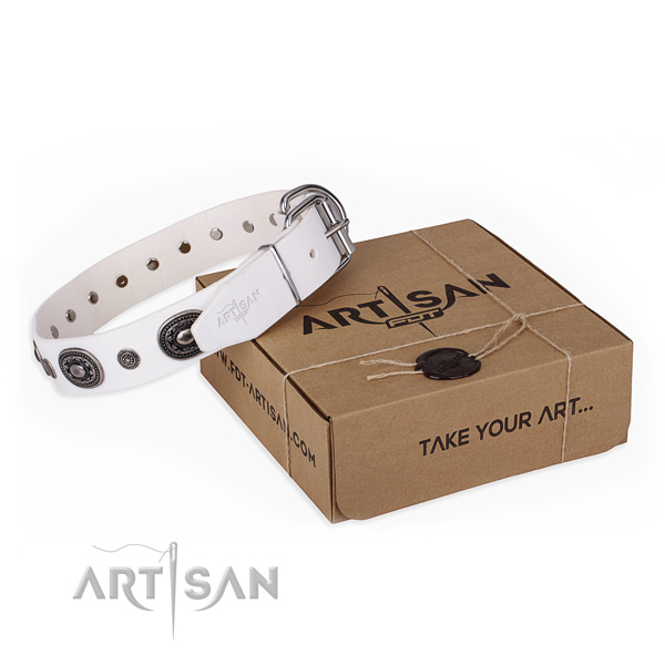 Flexible genuine leather dog collar handcrafted for comfortable wearing