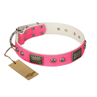 """Fashion Skulls"" FDT Artisan Pink Leather Sharpei Collar with Old Silver Look Plates and Skulls"
