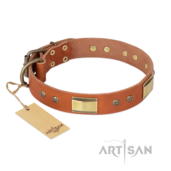 Top notch full grain genuine leather collar for your pet