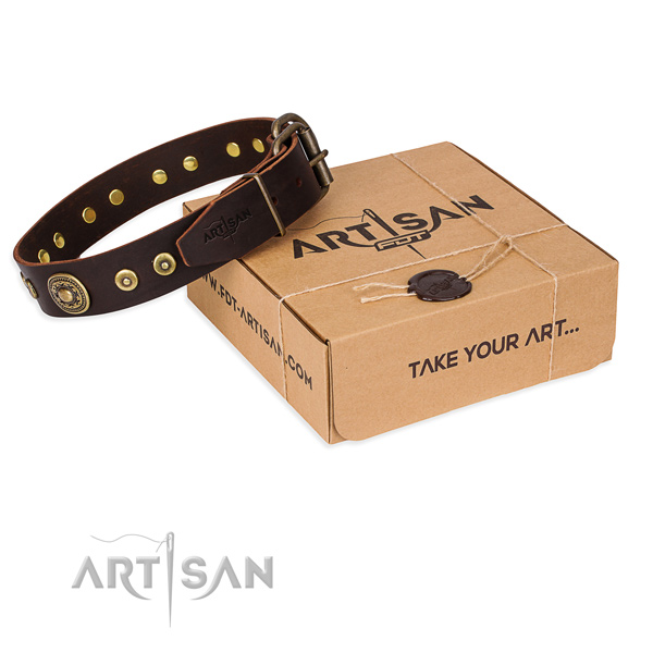 Genuine leather dog collar made of top rate material with corrosion resistant fittings