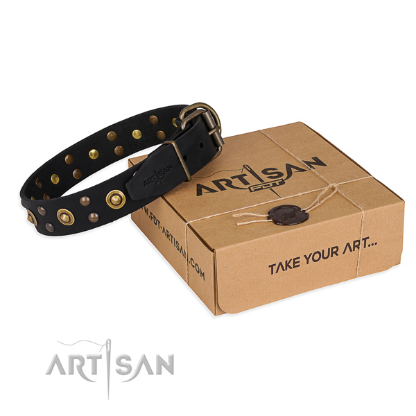 Reliable fittings on genuine leather collar for your beautiful doggie