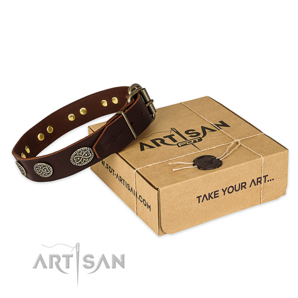 Rust resistant buckle on genuine leather collar for your beautiful pet