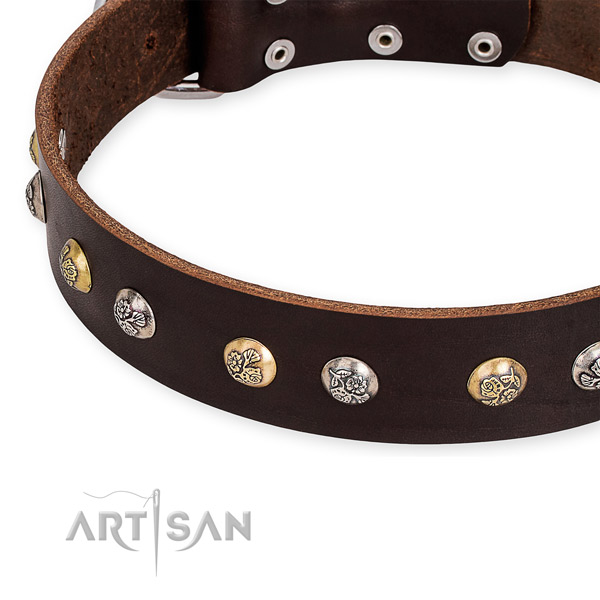 Natural genuine leather dog collar with incredible strong decorations