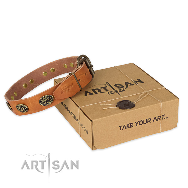 Rust-proof hardware on full grain natural leather collar for your beautiful doggie