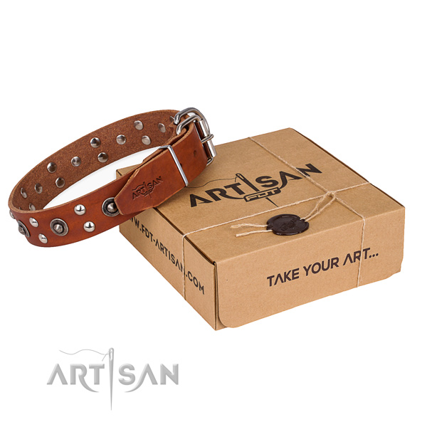 Rust resistant fittings on full grain genuine leather collar for your handsome doggie