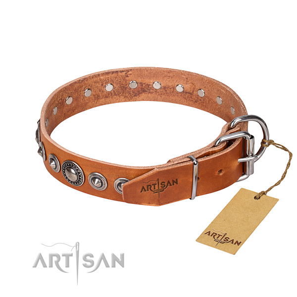 Full grain genuine leather dog collar made of quality material with strong adornments