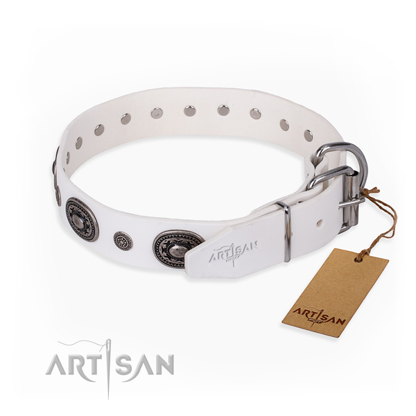 Top rate full grain genuine leather dog collar created for walking