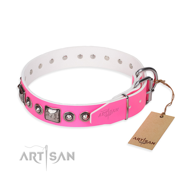 Strong full grain natural leather dog collar handcrafted for fancy walking