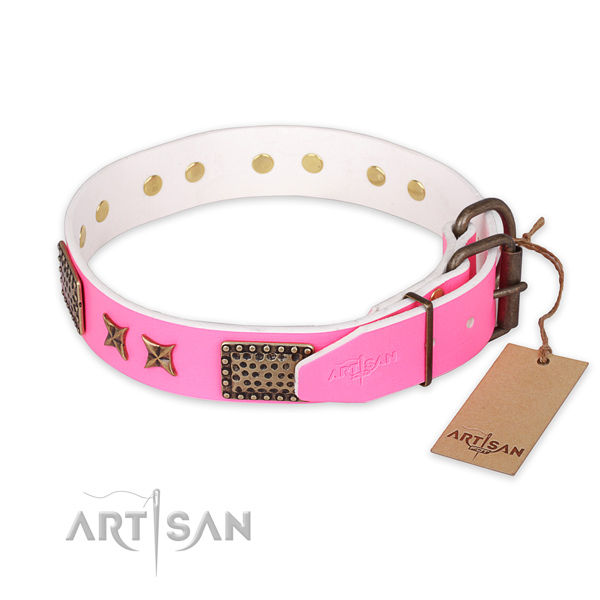 Corrosion resistant buckle on natural genuine leather collar for your lovely doggie