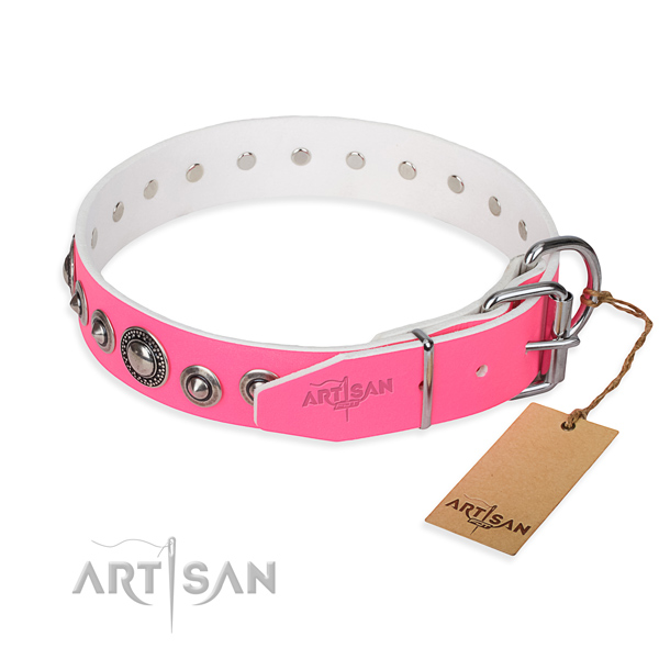 Full grain genuine leather dog collar made of quality material with corrosion resistant decorations