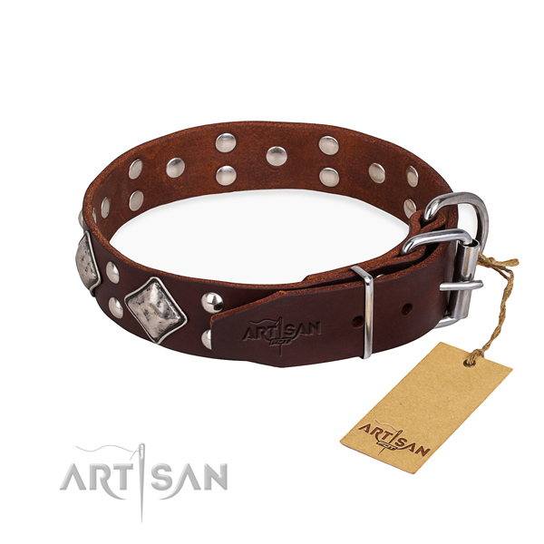 Full grain genuine leather dog collar with stylish corrosion resistant embellishments