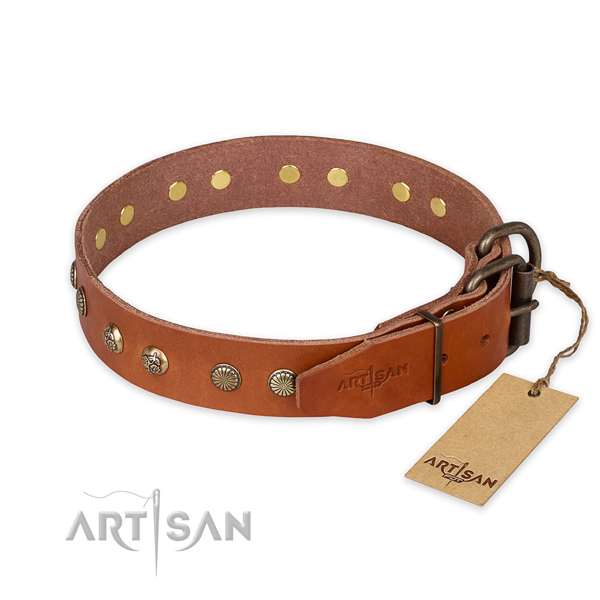 Reliable hardware on full grain leather collar for your handsome canine