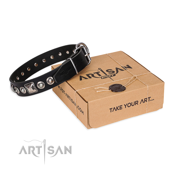 Full grain leather dog collar made of soft to touch material with strong traditional buckle