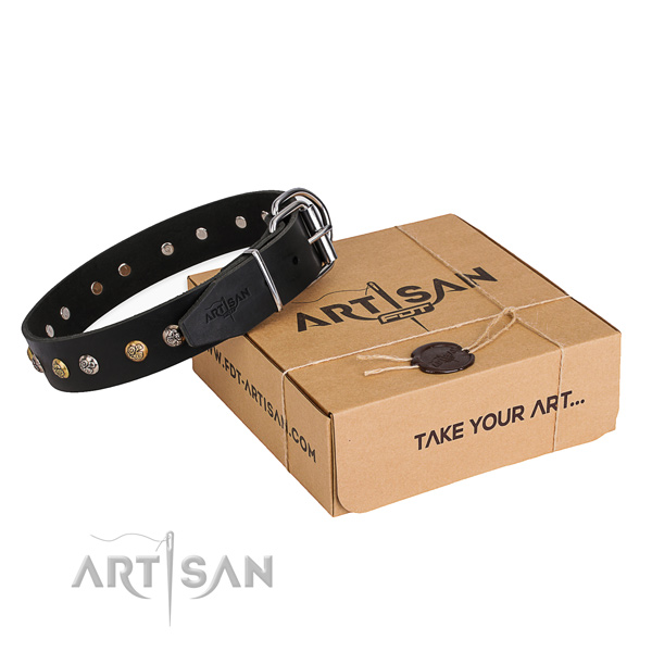 Best quality full grain natural leather dog collar handmade for stylish walking