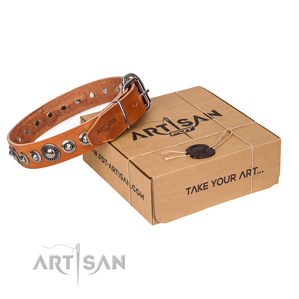 Full grain genuine leather dog collar made of quality material with rust-proof fittings