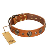 """Rockstar"" FDT Artisan Tan Leather Sharpei Collar with Engraved Studs and Medallions"