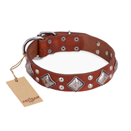 """Magic Squares"" FDT Artisan Tan Leather Sharpei Collar with Silver-like Decor"