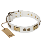"""Golden Avalanche"" FDT Artisan White Leather Sharpei Collar with Old Bronze Look Plates and Circles"