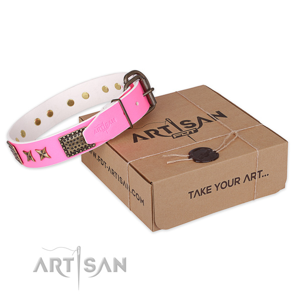 Corrosion resistant hardware on natural genuine leather collar for your attractive pet