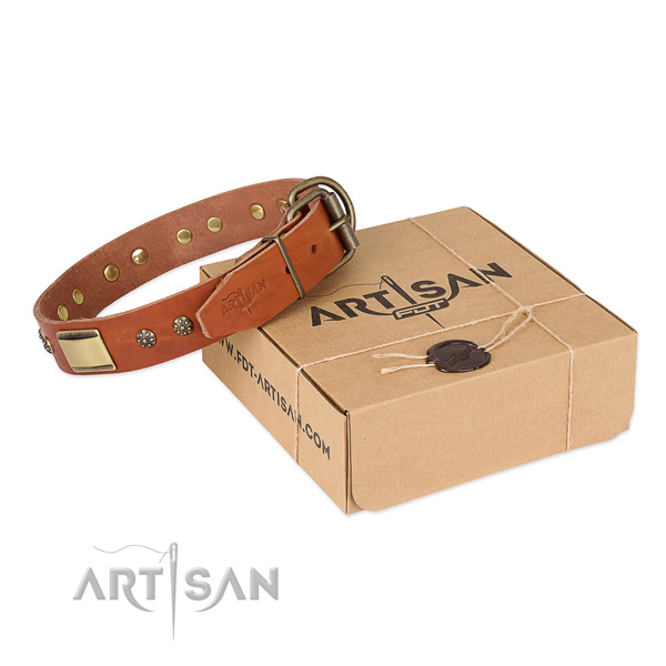 Perfect fit genuine leather collar for your handsome doggie