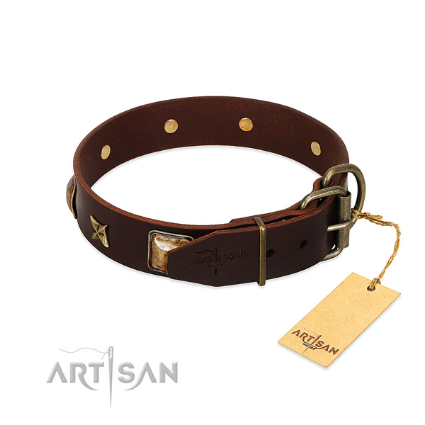 Full grain leather dog collar with durable D-ring and decorations